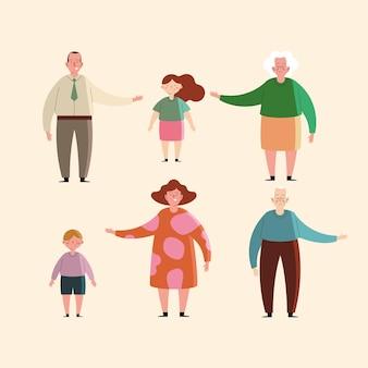 Großeltern und enkel familienfiguren grand