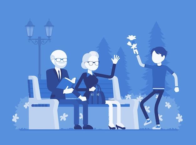 Großeltern und enkel im park