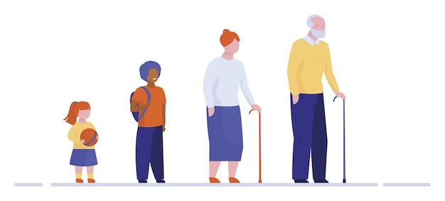 Großeltern und enkelkinder stehen in einer reihe
