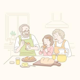 Großeltern und kind essen marmeladenbrot in der hand gezeichneten linie stil