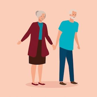 Großeltern verbinden eleganten avatarcharakter