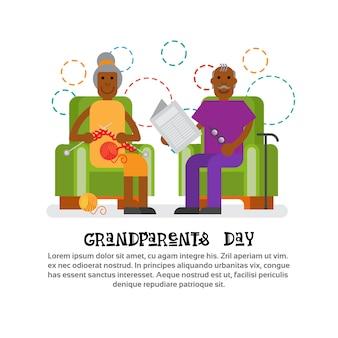 Großeltern verbinden zusammen glückliche großmutter und großvater-tagesgruß-karten-fahne