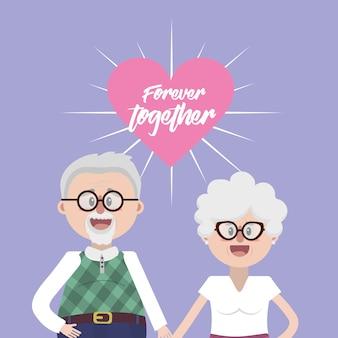 Großeltern zusammen mit brille und frisur