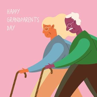 Großelternpaar, das mit stöckencharakteren geht