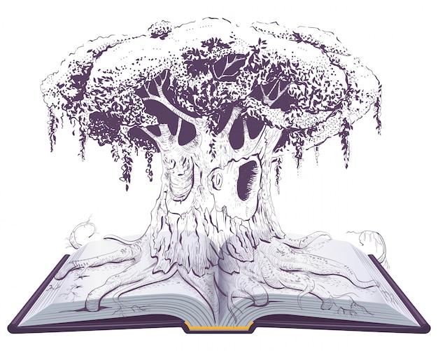 Großer alter wissensbaum auf offenem buch. leseerziehung