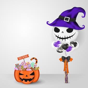 Großer ballon und jack o lantern candy bucket