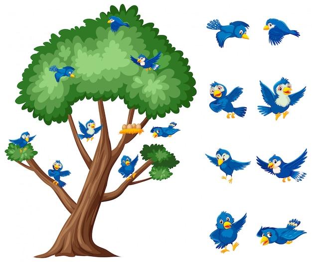 Großer baum und blaue vögel, die auf weiß fliegen
