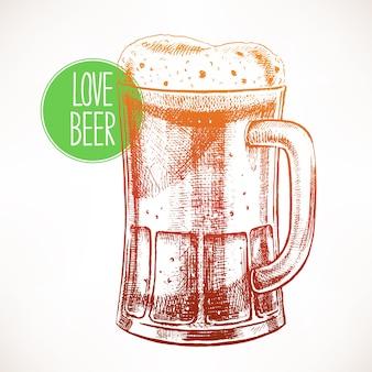 Großer becher mit schaumigem bier. handgezeichnete illustration