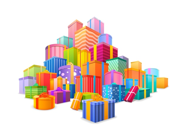 Großer berg eingewickelter geschenkboxen. viele geschenke getrennt auf weiß