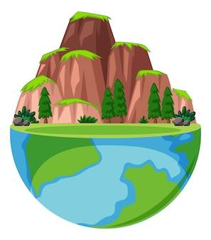 Großer berg und viele bäume auf der erde