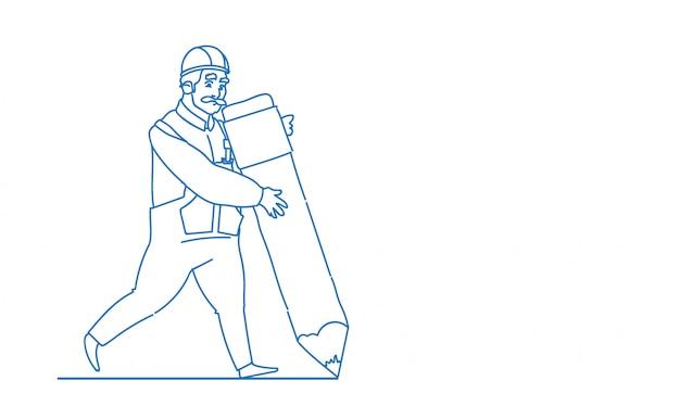 Großer bleistift des männlichen erbauergriffs, der den neuen planarchitekten trägt einheitliche sturzhelmbauarbeiter-skizzengekritzel-vektorillustration schafft