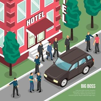 Großer chef mit isometrischer illustration der sicherheit