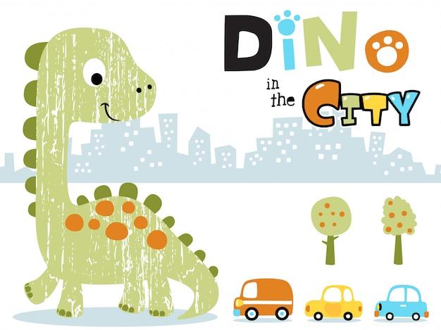 Großer dinosaurier-cartoon in der stadt