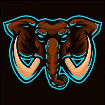 Großer elefant, mammut logo vorlage
