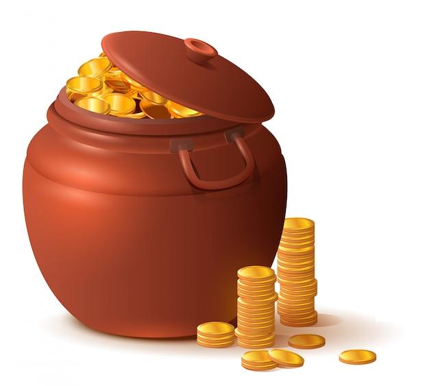 Großer enger keramiktopf mit deckel voller goldmünzen