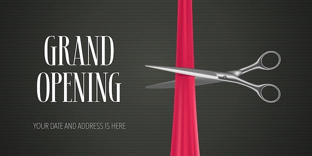 Großer eröffnungsbanner mit der schere, die rotes band für eröffnungszeremonie schneidet