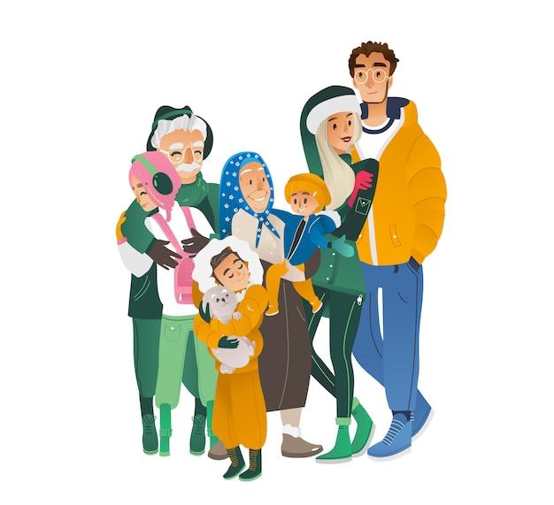 Großer familiencharakter der vektorkarikatur, der winter umarmt