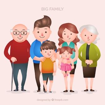Großer familienhintergrund in der flachen art