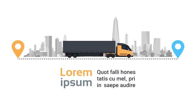 Großer fracht-lkw über schattenbild-stadt auf lieferungs-weg-schnellem logistik-transport-konzept