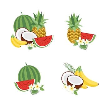 Großer fruchtvektorsatz. modernes, flaches design. isolierte objekte. fruchtikonen.