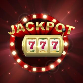 Großer gewinn beim jackpot-casino-gewinn. goldener spielautomat. 777 auf spielautomatenrädern. retro-schild auf rotem hintergrund mit lichtstrahlen. vektor-illustration