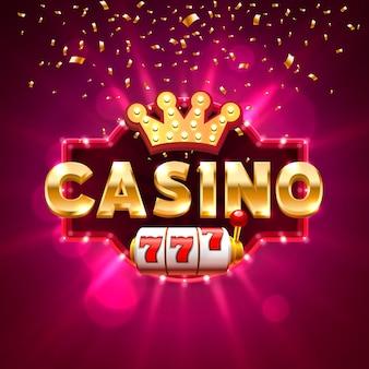 Großer gewinn-casino-bannertext auf dem hintergrund der szene. vektor-illustration