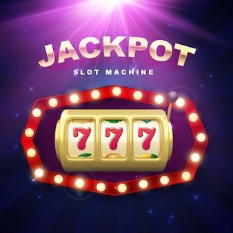 Großer gewinn im jackpot-casino gewinnt retro-schild auf violettem hintergrund mit lichtstrahlen. goldener spielautomat. 777 auf spielautomatenrädern. vektor-illustration