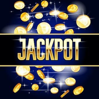 Großer gewinn oder jackpot - spielautomat und münzen, casino-konzert