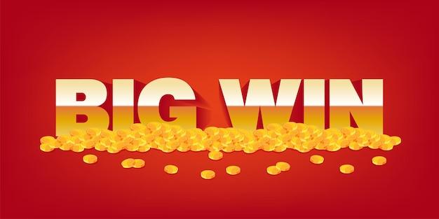 Großer gewinn vektor jackpot casino konzept hintergrund. hintergrund mit text- und goldmünzen, die belohnungsfahnenillustration spielen.