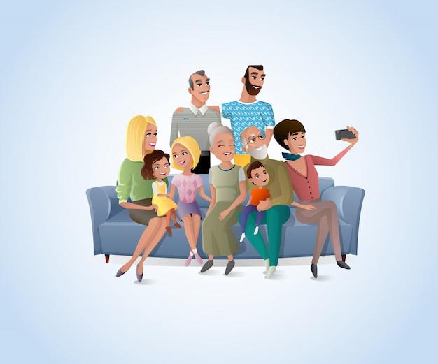 Großer glücklicher familien-selfie-foto-karikatur-vektor