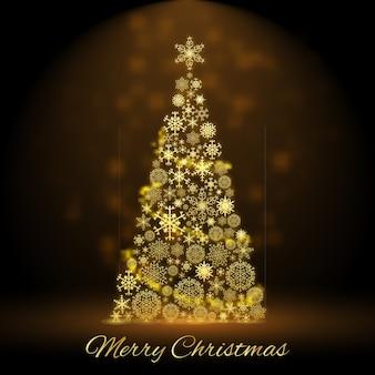 Großer goldener weihnachtsbaum verziert mit schneeflockenbällen und flacher illustration der sterne