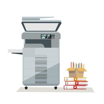 Großer grauer multifunktionsdruckerscanner-kopierer auf büroboden mit dokumentenstapel in pappkartons. auf weißem hintergrund. flache karikaturillustration.