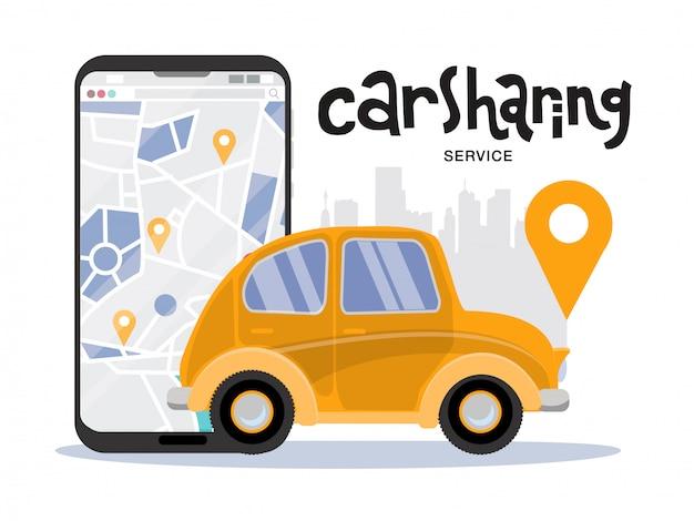 Großer handy mit karte und stadt, carsharing-servicekonzept. seitenansicht des gelben kleinen weinlesefahrzeugs. mobile app zur online-anmietung von autos.