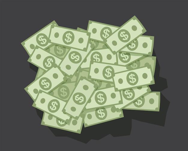 Großer haufen gelddollar auf dunklem hintergrund