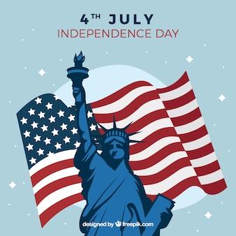 Großer hintergrund mit amerikanischer flagge und statue der freiheit
