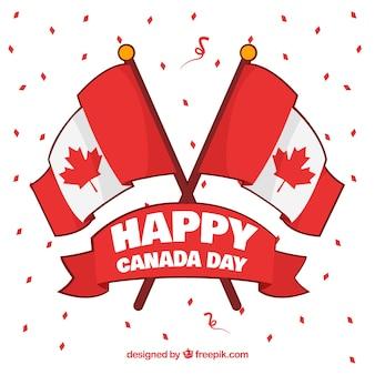 Großer hintergrund mit band und flaggen von kanada