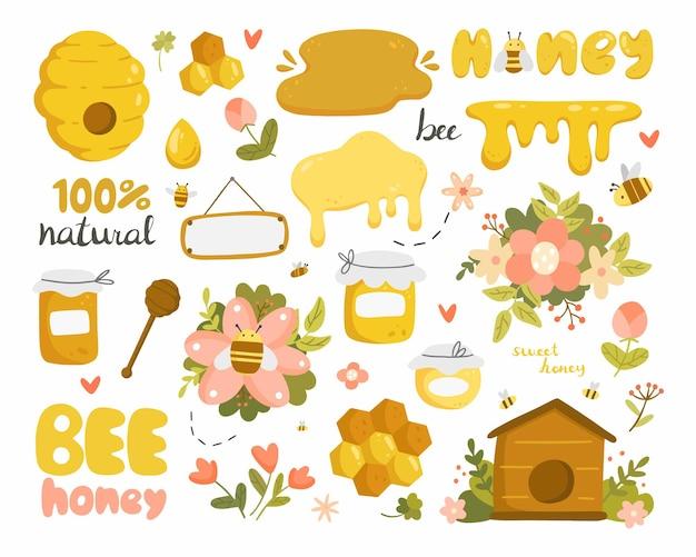 Großer honigsatz mit gegenständen im karikaturstil Premium Vektoren