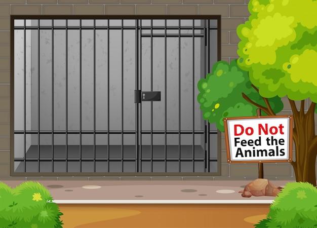 Großer käfig für tier am zoo
