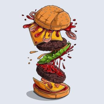 Großer leckerer und leckerer hamburger mit fliegenden zutaten, explosiver burger