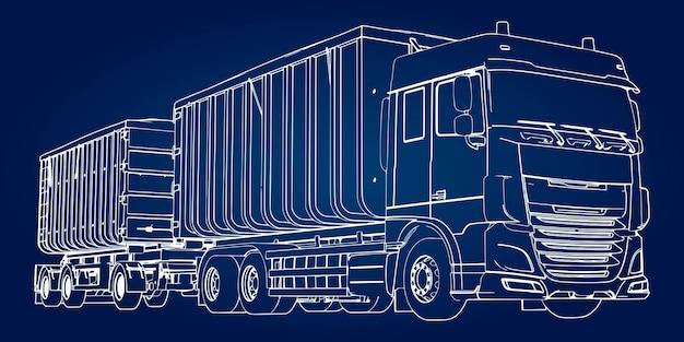 Großer lkw mit separatem anhänger, für den transport von landwirtschaftlichen und baulichen schüttgütern und produkten.
