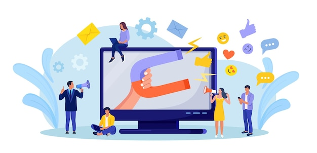 Großer magnet zieht likes, gute bewertungen, bewertungen und follower an. sozialer influencer. medieninhalte, um feedback vom publikum zu erhalten. lead-generierung. zufriedenheits- und loyalitätsanalyse. kunden gewinnen