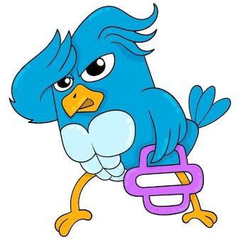 Großer muskulöser vogel mit heftigem gesicht, das fitness im fitnessstudio praktiziert, vektorillustrationskunst. doodle symbolbild kawaii.
