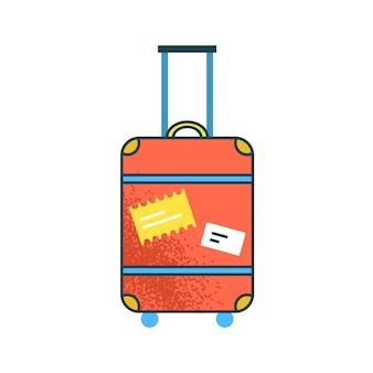 Großer orangefarbener koffer der karikatur mit flacher illustration des griffvektors. buntes reisegepäck mit aufklebern auf weißem hintergrund. riesige gepäcktasche auf rädern bereit für den urlaub.
