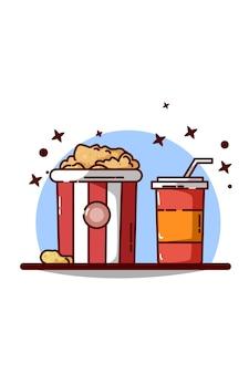 Großer popcorn mit erfrischungsgetränkillustration