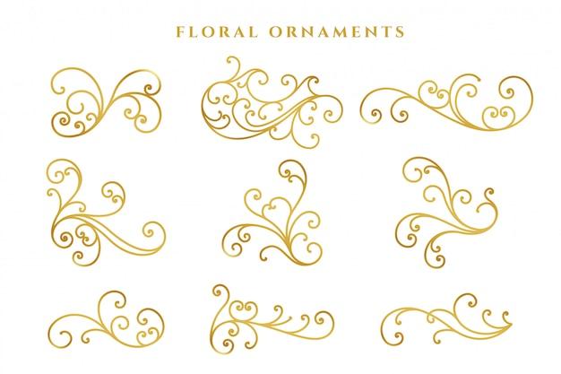 Großer satz der eleganten goldenen blumendekoration