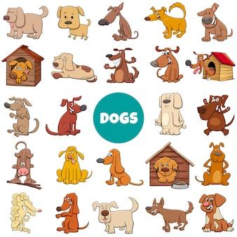 Großer satz der karikaturhund- und -welpencharaktere