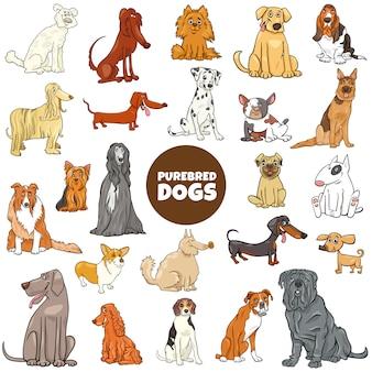 Großer satz der reinrassigen hundecharaktere der karikatur