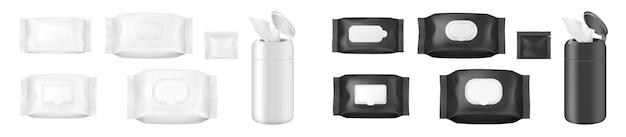 Großer satz feuchttücherbeutel, papiertaschentücher oder serviettenbox, realistische vorlagenpakete. papierhandtücher und antibakterielle einwegbeutel, kosmetikartikel für die körperpflege. 3d-vektor-illustration