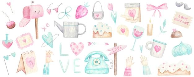 Großer satz für valentinstag in den farben rosa und minze, niedliches design, aquarellillustration auf weiß