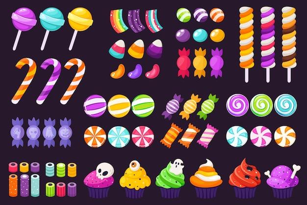 Großer satz halloween-süßigkeiten und bonbons. halloween cupcakes. im flachen stil.
